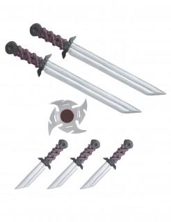 Ninja Waffen Set Kostümzubehör 7-teilig schwarz-rot-silber