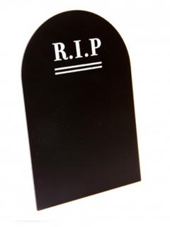 Grabstein-Menükarte aus Schiefer Halloween-Tischdeko schwarz-weiss 18 x 12cm