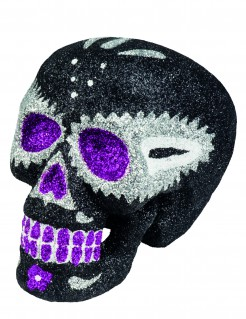 Glitzer-Totenkopf Halloween-Deko Sugar Skull schwarz-silber 16x13cm