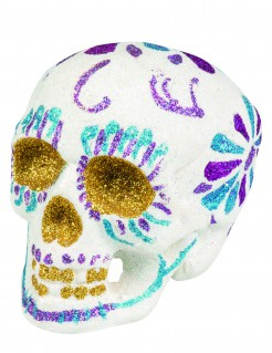 Glitzer-Totenkopf Halloween-Deko Sugar Skull weiss-silber 16x13cm