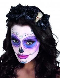 Dia de los Muertos Haarreif mit schwarzen Rosen und Totenschädel Halloween-Accessoire schwarz-beige