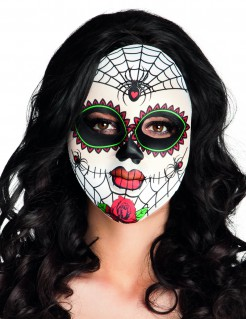 Sugar Skull Spinnen-Maske Day of the Dead weiss-bunt