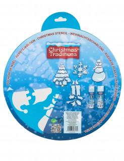Weihnachts-Schablonen zum Dekorieren 6-teilig blau