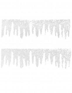 Winterlicher Fensterschmuck 2 Stück weiß 38 x 15 cm