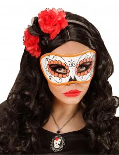 Sugar Skull Augenmaske Tag der Toten weiss-orange