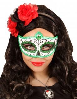 Sugar Skull Augenmaske Tag der Toten weiss-grün