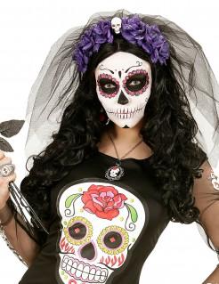 Tag der Toten Haarreif mit Totenkopf und Schleier schwarz-lila