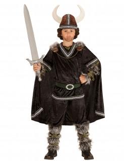 Deluxe Wikinger-Kostüm für Kinder 6-teilig schwarz-grau-grün