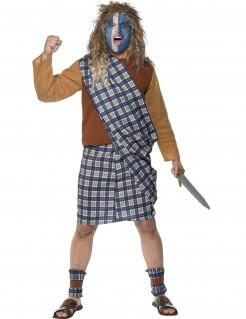 Schotte Kostüm Karneval blau-weiss-braun