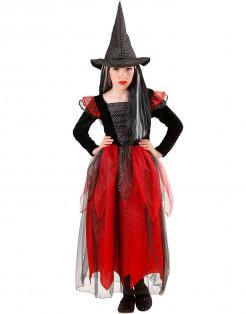 Kleine Hexe Halloween-Kinderkostüm schwarz-rot