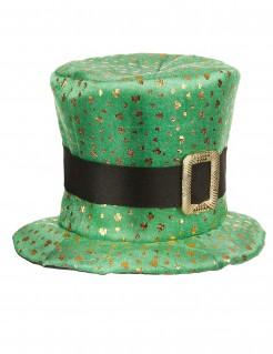 Zylinderhut mit goldenem Klee Saint Patrick´s Day grün-gold 59cm Kopfumfang 18cm hoch