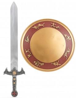 Gladiator-Kostümset für Kinder Schwert und Schild Accessoires silber-gold-rot
