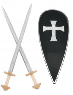 Ritter Accessoire-Set für Kinder Schwert und Schild bunt