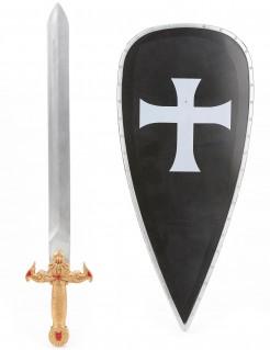 Kreuzritter-Kinderset Schwert und Schutzschild schwarz-silber-gold