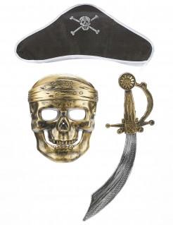 Piraten-Accessoireset für Kinder gold-silber-schwarz