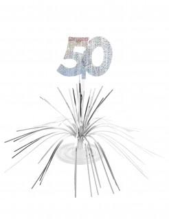 Tisch-Aufsteller - Zahl 50 Partyzubehör schwarz-gold-weiß 23 x 30 cm
