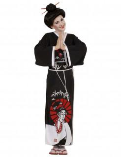 Chinesin-Mädchenkostüm Geisha schwarz