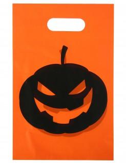 Halloween-Tüten Kürbistüten 10 Stück orange-schwarz 16,5x23cm