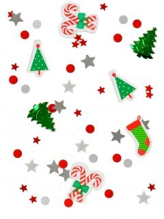 Weihnachtliches Konfetti 6 Motive silber-rot-grün 34g