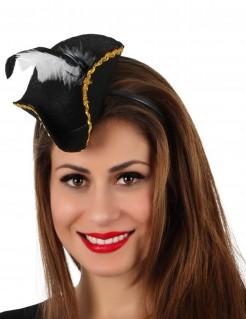 Mini Piratenhut mit Haarreif Kostümaccessoire schwarz-gold