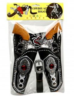 Cowboy-Pistolen mit Pistolentaschen Kostümzubehör 5-teilig schwarz-silber-braun