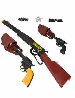 Sheriff-Set Kostümzubehör 8-teilig schwarz-braun-gelb