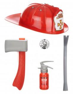 Feuerwehrmann Set Kostümzubehör für Kinder 5-teilig rot-silber
