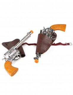 2 Pistolen mit 2 Pistolentaschen Kostümzubehör Cowboy5-teilig braun-silber