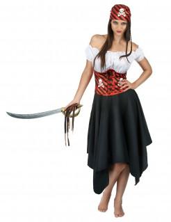 Wagemutige Freibeuterin Piraten-Damenkostüm schwarz-rot-weiss