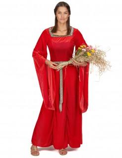 Mittelalterliche Schlossherrin Damenkostüm rot