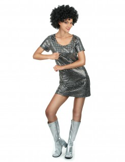Sexy 70er-Jahre Disco-Damenkostüm silber
