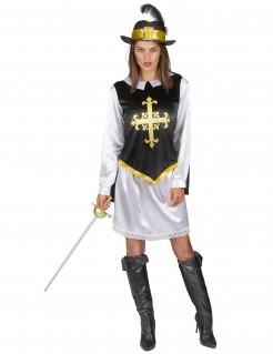 Musketier Damenkostüm mit Hut schwarz-weiss-gold
