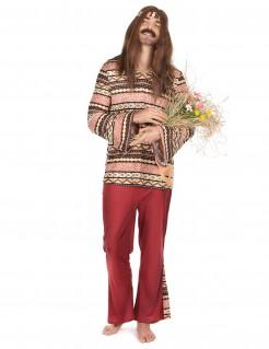 Hippie-Herrenkostüm 60er-Kostüm bordeaux-bunt
