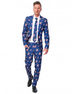 Suitmeister Anzug USA Stars and Stripes blau-rot-weiss