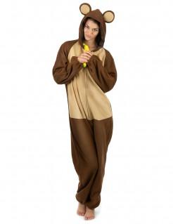 Affe Jumpsuit Damenkostüm Dschungel braun-beige