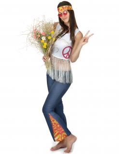 Hippie-Damenkostüm Blumenkind-Kostüm blau-weiss-bunt