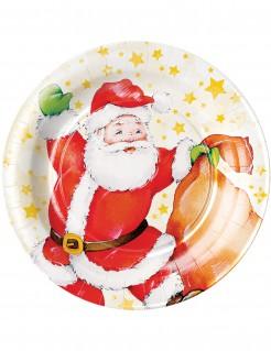 Weihnachtsmann Teller Weihnachstdekoration 8 Stück 23 cm