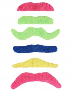 Fluoreszierende Klebe-Schnurrbärte Kostüm-Accessoire 6 Stück bunt