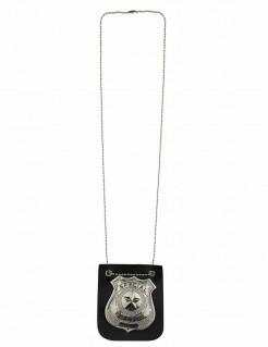 Polizei-Marke Halskette schwarz-silber
