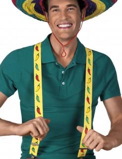 Hosenträger Kostümzubehör Motiv Chilischoten gelb-rot-grün 3,5 cm breit