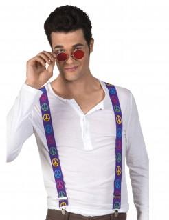 Hosenträger Kostümzubehör Motiv Peacezeichen Hippie violett-bunt 75 cm lang