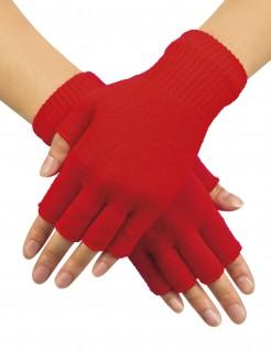 Fingerlose Armstulpen Handschuhe rot