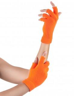 Fingerlose Armstulpen Handschuhe neonorange