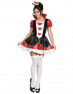 Sexy Herzkönigin-Kostüm für Damen schwarz-rot