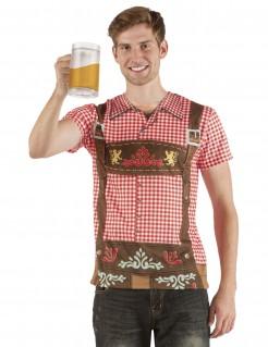 Lederhosen Trachten T-Shirt Volksfest fotorealistisch rot-braun