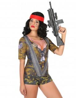 Martialische Soldatin Dschungelkämpferin T-Shirt für Damen bunt