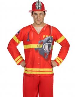 Herren-T-Shirt Feuerwehrmann rot-gelb