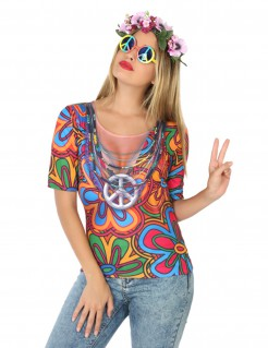 Hippie-T-Shirt Damen bunt