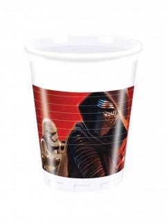 Plastikbecher Star Wars VII Lizenzartikel 8 Stück weiß-rot 200ml