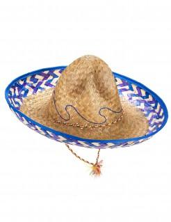 Sombrero Mexiko-Strohhut beige-blau-lila